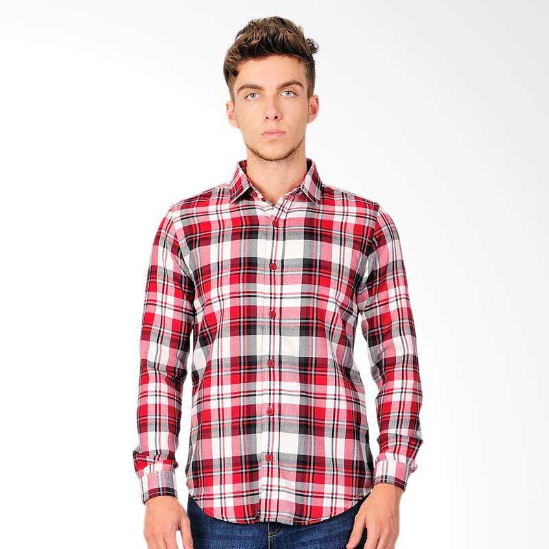 Gabriel Check Mens Shirt Kemeja Pria - Red White