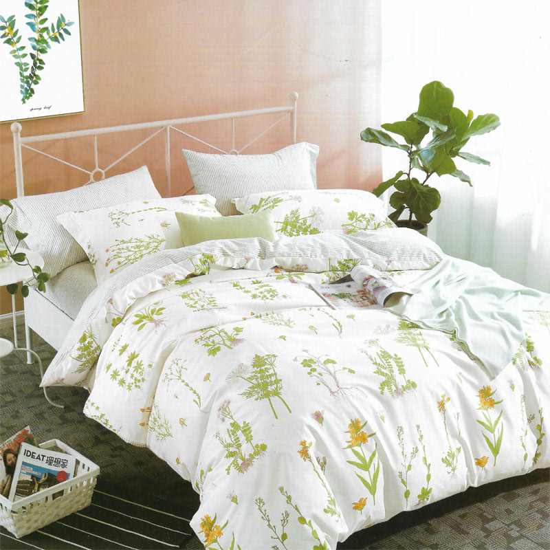 Sleep Buddy Set Sprei dan bed cover white garden Cotton Sateen 200x200x30