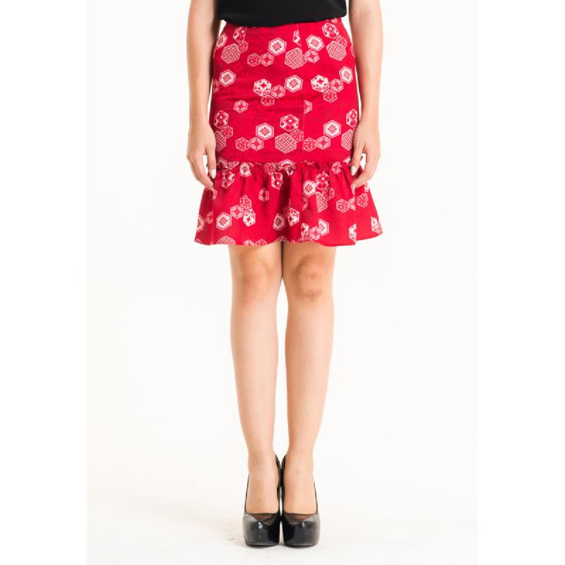 Bateeq Women Regular Cotton Print Skirt FL001F-SS18 Red