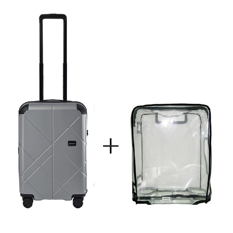 Bagasi Jasper Koper Hardcase Cabin 21 Inch Silver Leaf + Luggage Cover Small