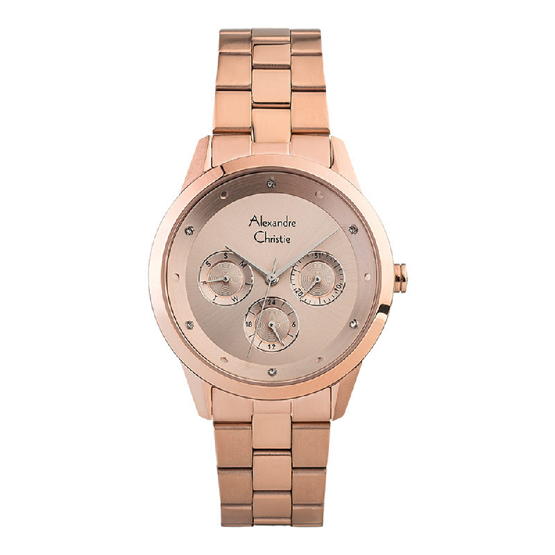 Alexandre Christie AC 2882 BF BRGLN Ladies Rose Gold Dial Rose Gold Stainless Steel Strap