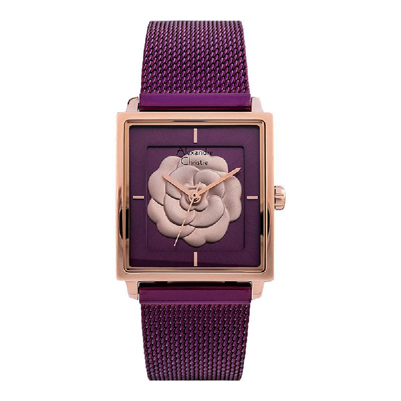 Alexandre Christie AC 2848 LH BRDRE Ladies 3D Flower Dial Purple Mesh Strap