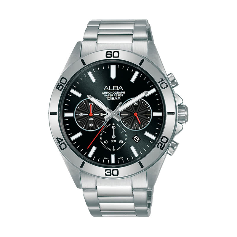 Alba Active AT3H27X1 Chronograph Men Black Dial Stainless Steel Strap