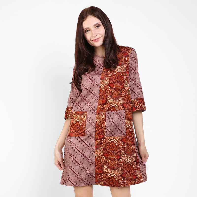 Arjuna Weda Sackdress Batik Wanita Lereng Ukir Merah Tua