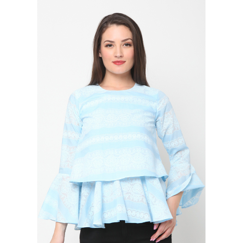 Agatha Double Layered Blouse In Soft Blue Blue