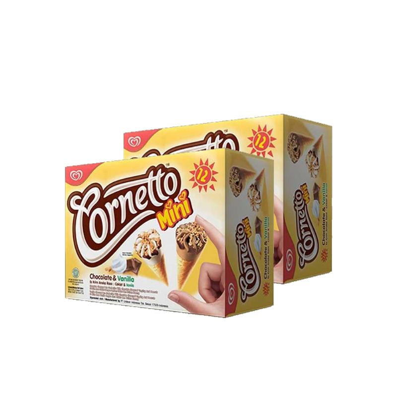 Walls Cornetto Mini Chocolate Vanila Glee Isi 12 (Buy 1 Get 1)