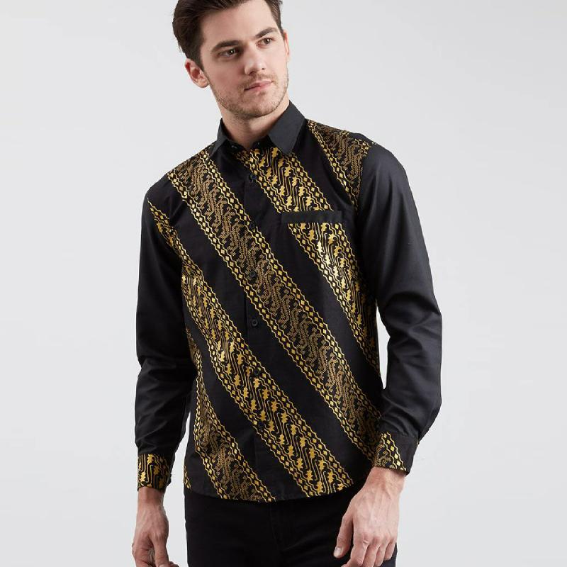 Enzy Batik Shirt Gold Lereng Kemeja Batik Pria Black