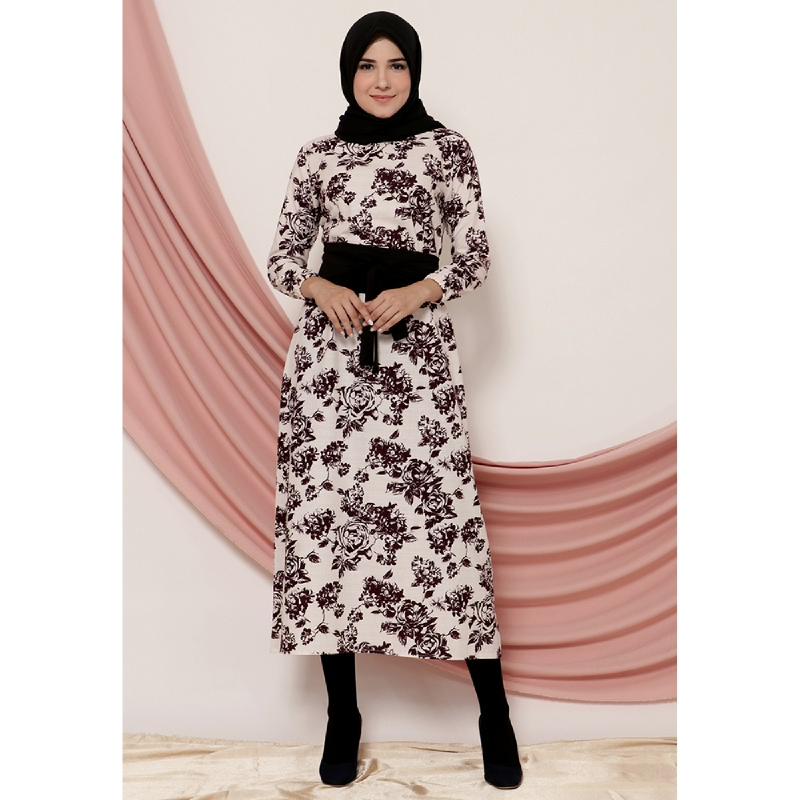 Mybamus Flower Ansa Belt Dress White M14786 R40S3