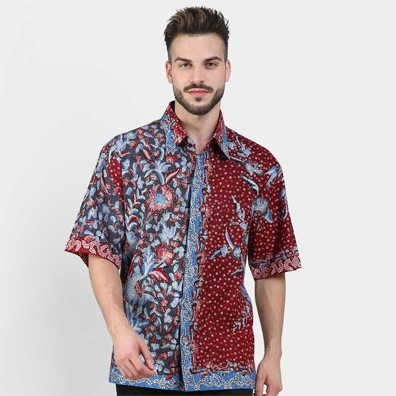 Batik Muda Hem Lasem Shirt Blue