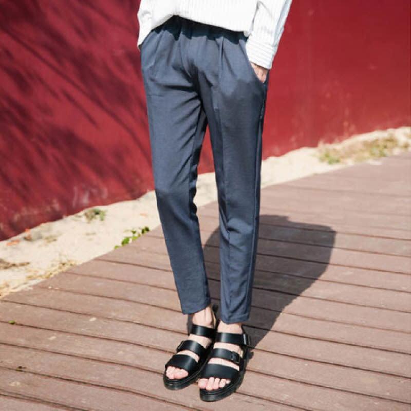 [BJ1523]Slim Fit Banding Slacks - Charcoal