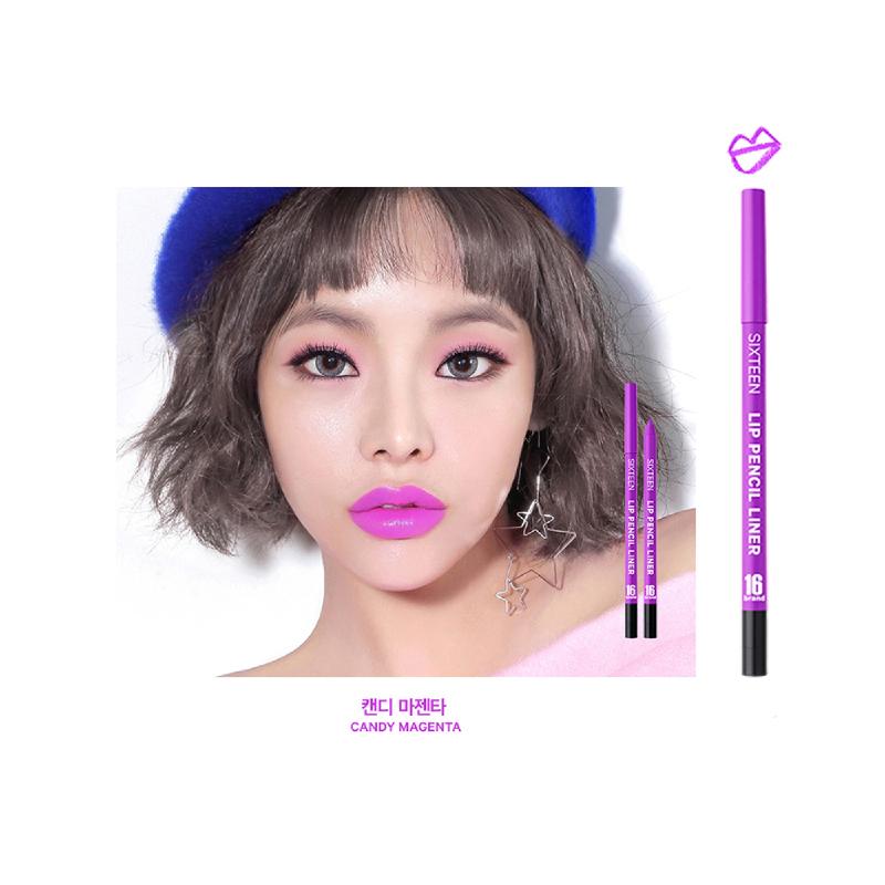 16brand Lip Pencil Liner - Candy Magenta