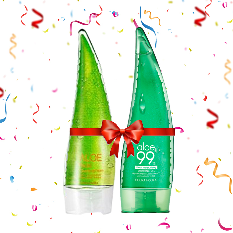 Holika Holika Aloe 99% Soothing Gel 55ml + Aloe Facial Cleansing Foam 150ml