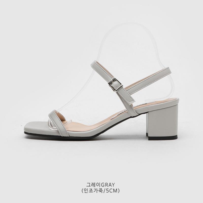 SAPPUN De Jane Buckle Strap Sandals (5cm) - Gray Synthetic Leather