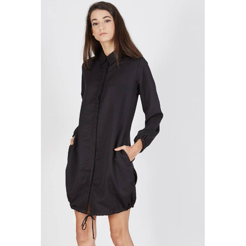Paula Gathered Shirt Dress Black