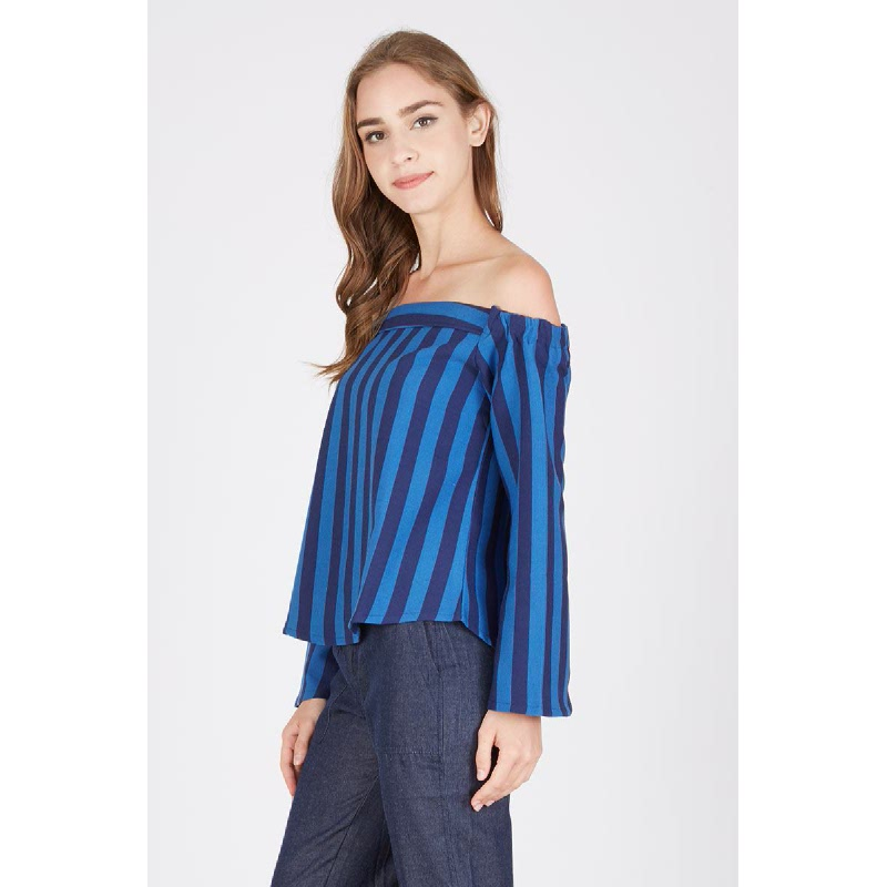Paige Off Shoulder Top Blue
