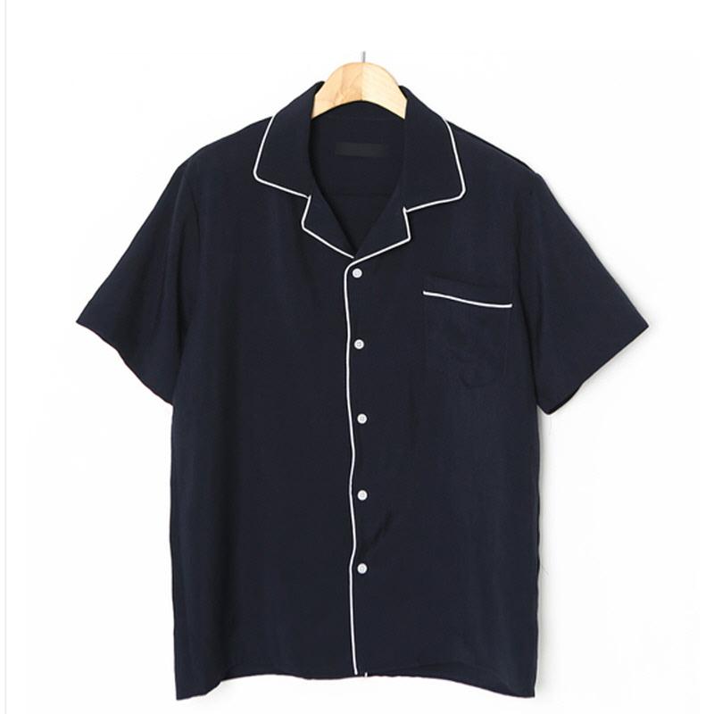 Trimming Open Collar Short Sleeve Shirt NV
