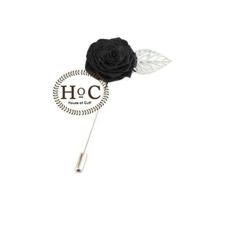 House Of Cuff Lapel Pin Bros Jas Wedding Flower Leaf Black Lapel Pin