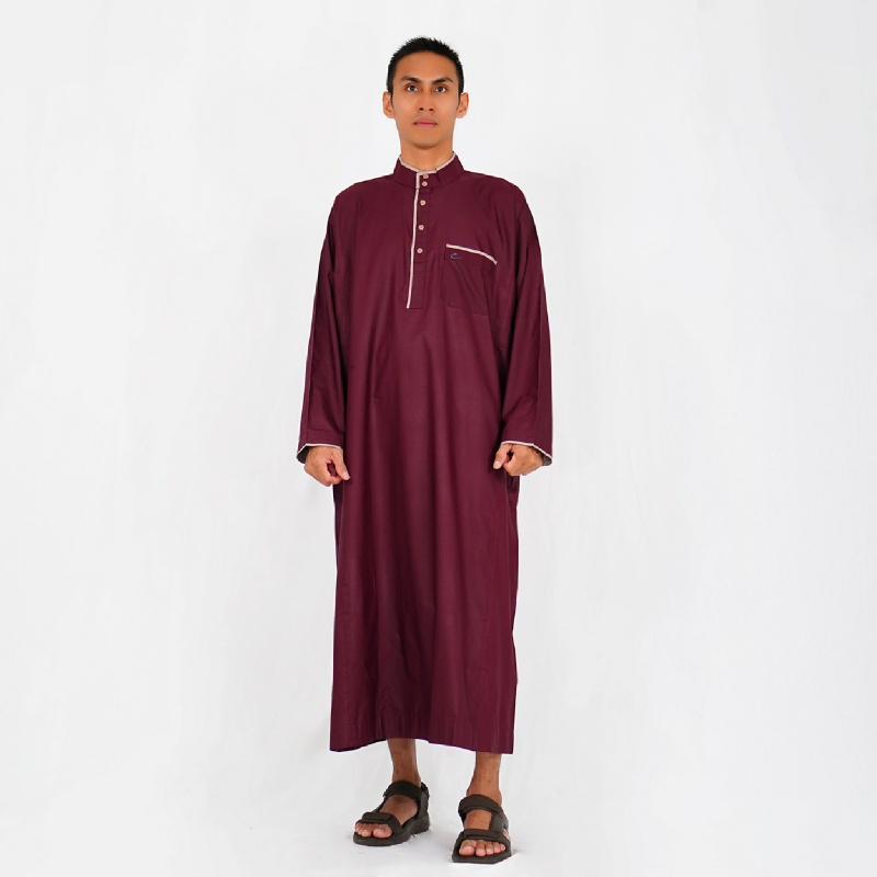 Al-Isra JUBAH ASAFI Pakaian Gamis per Muslim Pria (Maroon)