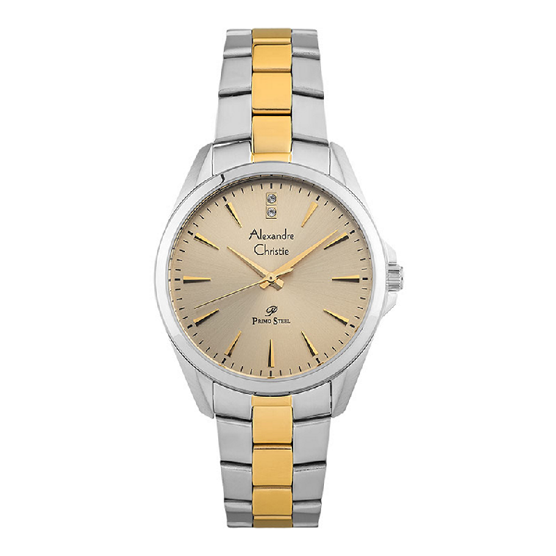 Alexandre Christie Primo Steel AC 1018 LH BTGIVL Ladies Gold Dial Dual Tone Stainless Steel Strap