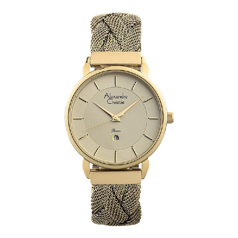 Alexandre Christie Passion AC 2857 LD BGPIV Ladies Gold Dial Gold Stainless Steel Strap