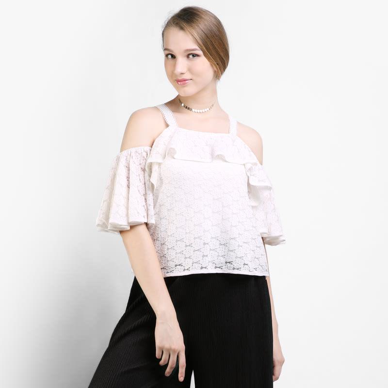 BLIC4158  Icons Cold Shoulder Lace Blouse Color White