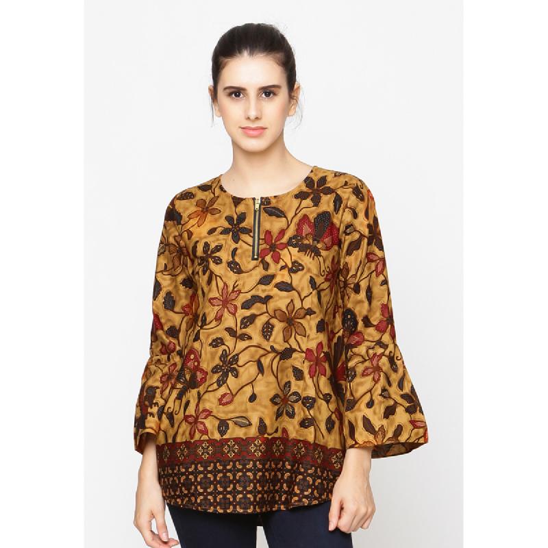 Agatha Zip Up Batik Blouse Brown
