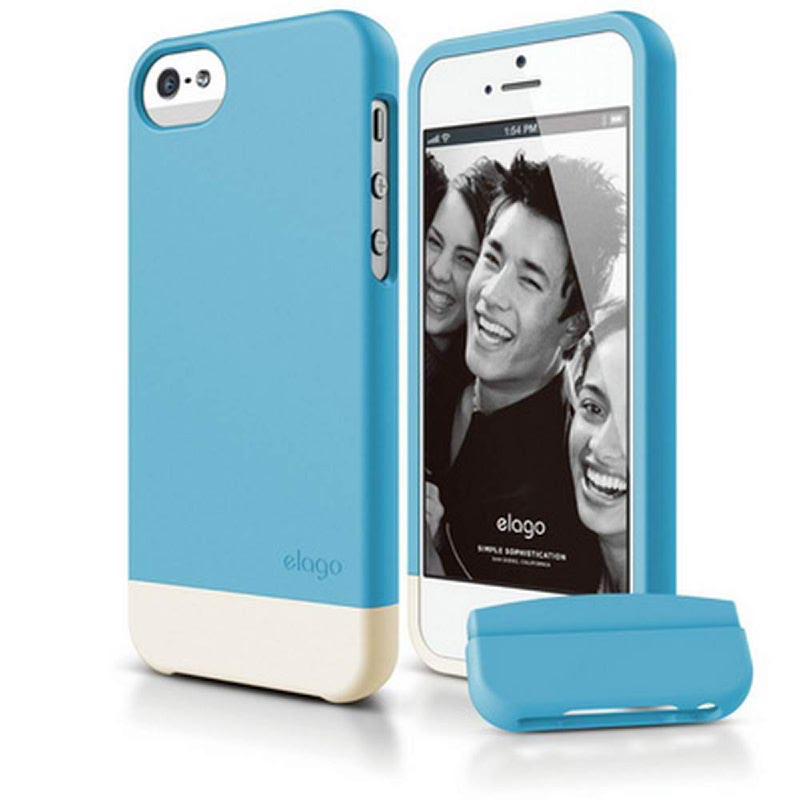 Elago Glide Case for iPhone SE, 5, 5S - SF Anique Blue + SF Coconut
