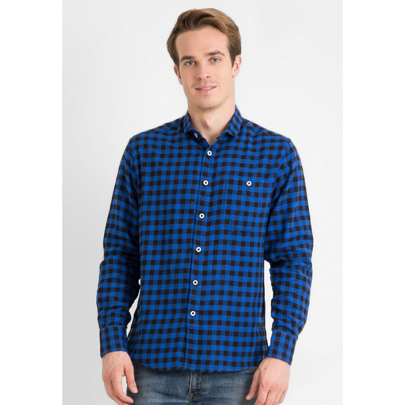 17Seven Men Shirt Flanel Walvis Blue
