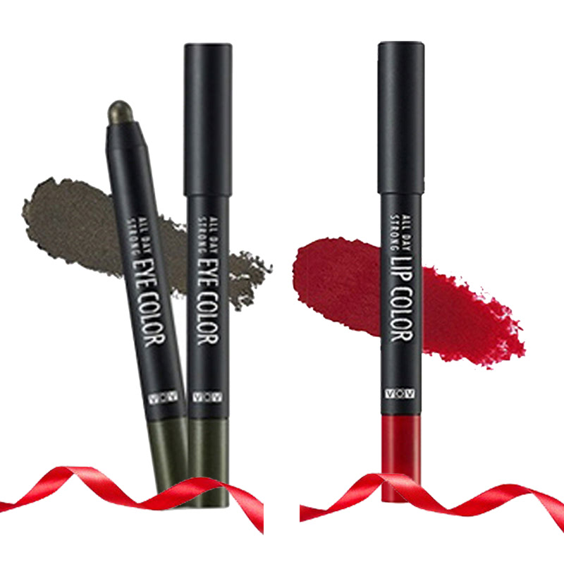 VOV All Day Strong Eye Color GR 501 Khaki Shock + All Day Strong Lip Color PK 301 Red Rising