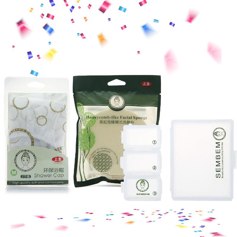 Sembem Facial Cleansing Sponge + Shower Cap (2pcs) + Pill box kit