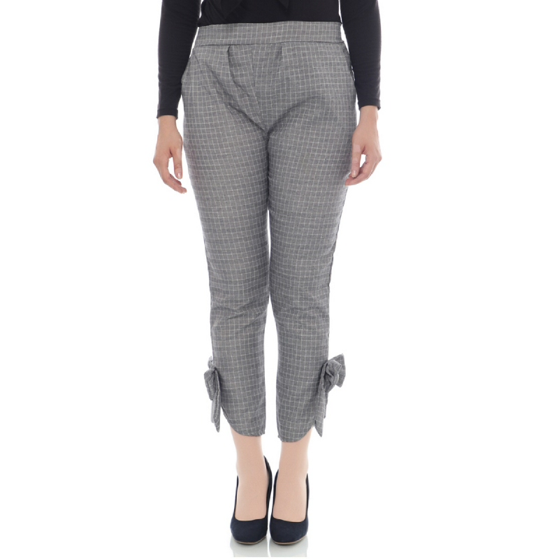 Mybamus Plaid Bow Pant Gray M15005 R86S4