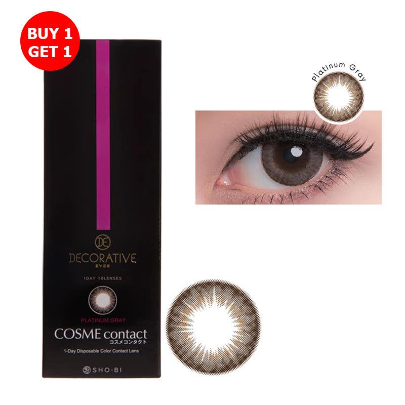 Shobi Platinum Gray  (-6.50) 1 Day Disposable Cosme Contact Lens  2pcs