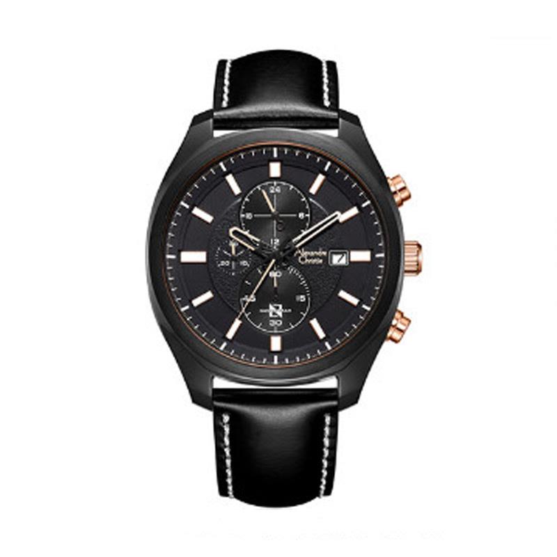 Alexandre Christie AC 6550 MCLIPBA Mens Watch Leather Strap Black Rosegold