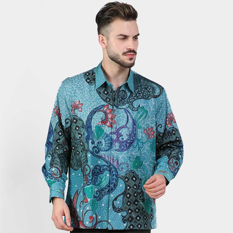Batik Muda Kmj Pekalongan Shirt Blue