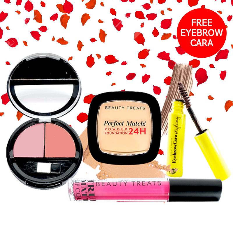 Beauty Treats Make Up Set A (Perfect Match Powder Foundation 24H No. 3 + True Matte Lip Color No. 1 + Duo Blush No. 1) FREE Eyebrowcara Dark Brown