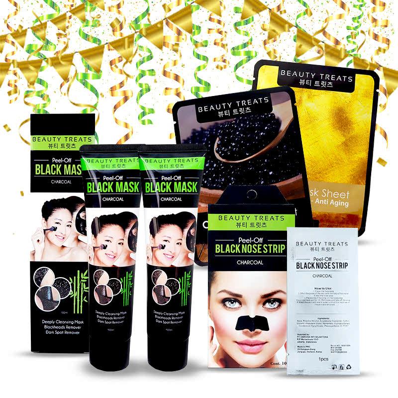 Beauty Treats Peel Off Black Mask Charcoal (2pcs) + Peel Off Black Nose Strip Charcoal (1pc) FREE Mask Sheet Caviar & Gold
