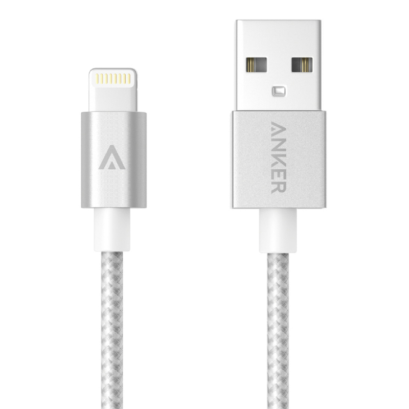 Anker MFI USB To Lightning Nylon Cable 3ft A7136041 Silver