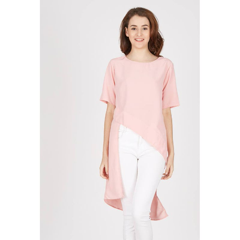 Judith Asymetric Top In Dusty Pink
