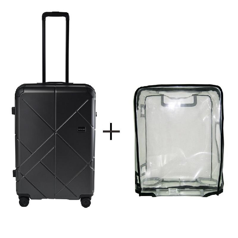 Bagasi Jasper Koper Hardcase Medium 26 Inch Black + Luggage Cover Medium
