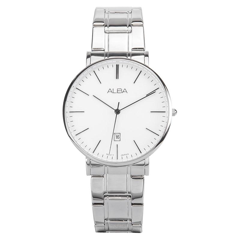 Alba AG8H15X1 Men White Dial Stainless Steel Strap