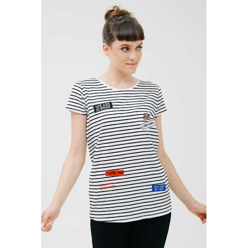 3Second Women Tshirt 5601.StripedBlackwhite