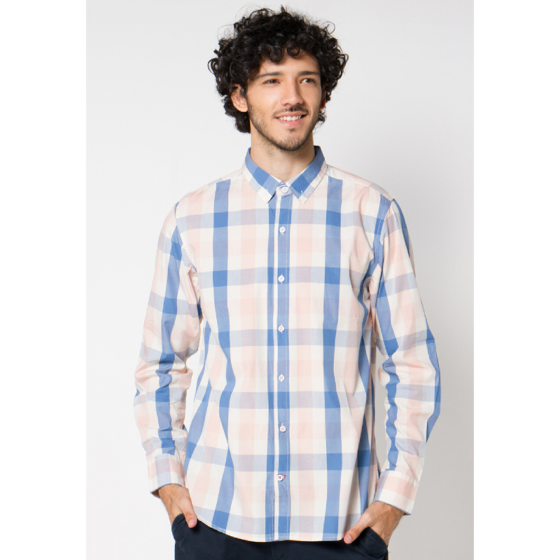 Peach Check 001 Long Sleeves Shirt