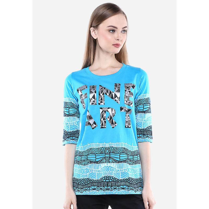 Regular Fit Kaos Wanita Biru Gambar Grafik