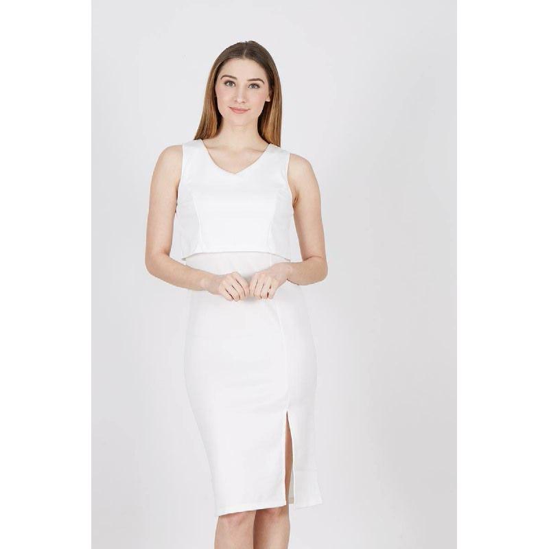 FO Sleeveless Midi Dress White