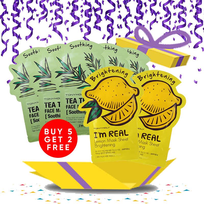 Tony Moly Bundle 5pcs I Am Real Tea Tree Mask Sheet Skin Calming + 2pcs I Am Lemon Mask Sheet Brightening