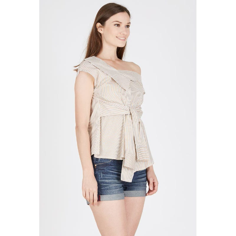 Kendall Asymmetric Colar Top in Beige