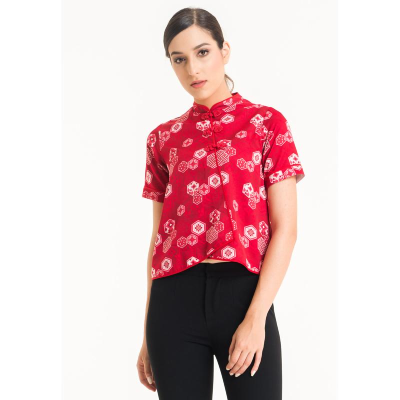 Bateeq Women Short Sleeve Cotton Print Blouse FL001C-SS18 Red