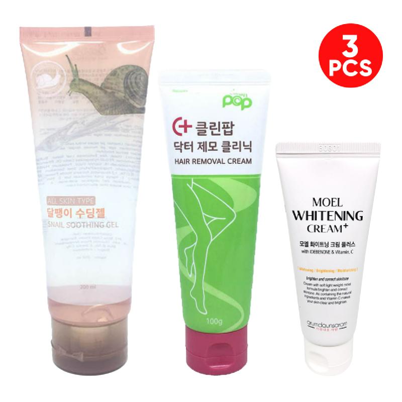 Arumdaunsaram Moel Whitening Cream Plus + Beautyk Snail Soothing Gel 200 Ml + Clean Pop Hair Removal 100 Ml