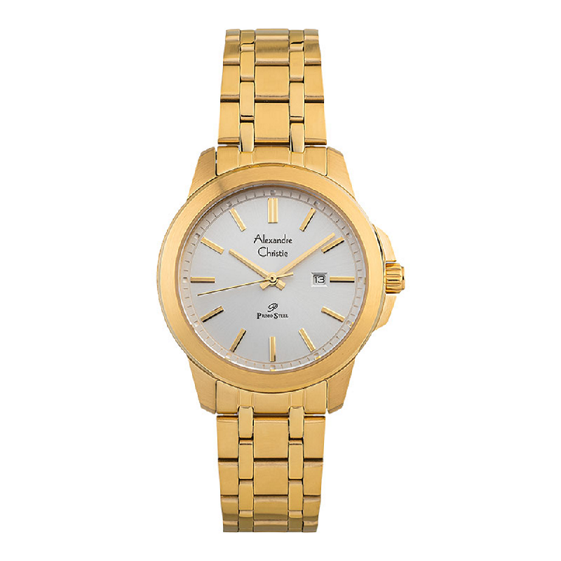 Alexandre Christie Primo Steel AC 1017 LD BGPSL Ladies Silver Dial Gold Stainless Steel Strap