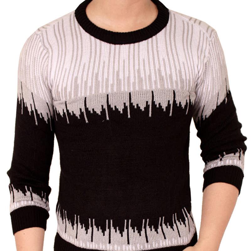 Gudang Fashion Sweater Rajut Tribal Terbaru Pria Rajut Abu Hitam